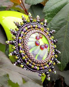 OOAK Green Purple Bead Embroidered  Cuff Bracelet by kozimoart