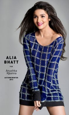 Alia Bhatt showing off Anushka Sharma's fall-winter 2013 collection titled Starry, Starry Night. #Bollywood #Style #Fashion