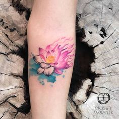 Beautiful Watercolor Lotus Tattoo by Koray Karagozler