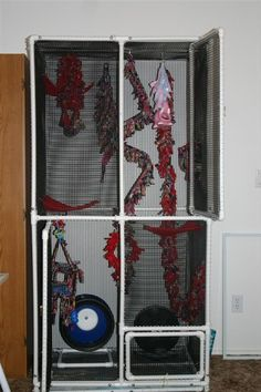 Learn how to make a large DIY sugar glider cage. It& easy, cheap, and awesome. Your sugar gliders will love it. Also works with reptiles and small animals. Small Bird Cage, Large Bird Cages, Small Birds, Small Animals, Pet Birds, Sugar Glider Care, Sugar Glider Food, Sugar Gliders, Sugar Bears