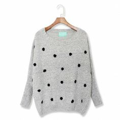 Gray pullovers dot embroidery lolita style Print Sweaters
