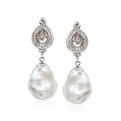 Cultured Baroque Pearl Drop Earrings in 14kt White Gold