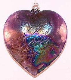 "EUROPEAN ART GLASS ABALONE HEART IN ""PURPLE"" KUGEL ORNAMENT Friendship Ball"