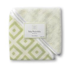SwaddleDesigns Terry Velour Baby Washcloth Set - Very Light Kiwi with Kiwi Mod Squares