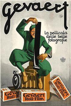 Framed Art vintage Italian advertising poster — Gevaert film / by Gino Boccasile, 1932