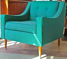 turquoise MCM | Atomic Dowel Legs, Vintage Turquoise-Green Lounge Chair, Vintage ...