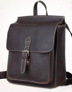 b1ee54405d7d Dark Brown Student Leather Backpack Organizer Book Bag - Notebook