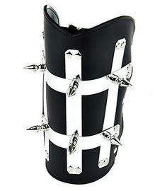 Heavy Metal Strip Spike Leather Wristband Armband Gauntlet