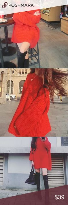 """LAST ONE Christmas 🎄 mid-long slouchy sweater Material: acrylic. NWOT S/M-length 27-28"""", bust-40"""", shoulder to shoulder-19.5"""", sleeve length-16.5"""". L/XL-length 30-31"""", bust-45-46"""", shoulder to shoulder-22.5"""", sleeve length 17.7"""" Sweaters"""