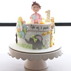 Little Elephant First Birthday Cake