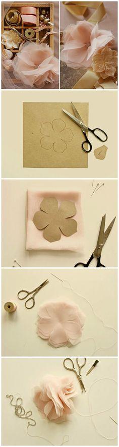 Wedding DIY ● Tutorial ● Chiffon and Tulle flowers
