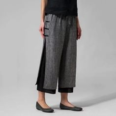 Cotton Pants Plus Size Casual Wide Leg Linen Pants- JustFashionNow Loose Pants, Cropped Pants, Wide Leg Pants, Ankle Pants, Miss Me Outfits, Work Outfits, Plus Clothing, Layered Clothing, Womens Linen Clothing