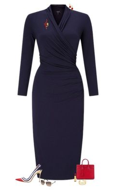 """Navy & red"" by julietajj on Polyvore featuring Darton, Miseno, Christian Louboutin, Yves Saint Laurent, Isaac Mizrahi, Swarovski and Gorjana"