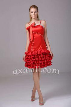 A-line Party Dresses Spaghetti Straps Short/Mini Taffeta Red 05001010021