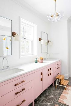 Pink bathroom vanity with double sinks and grey cement tile floor // Cortney Bishop Bathroom Inspiration, Bathroom Vanity, Pink Vanity, Small Bathroom, Bathrooms Remodel, Bathroom Interior Design, Pink Kitchen, Bathroom Design, Bathroom Kids