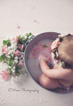 8 month baby girl photography milk bath ideas