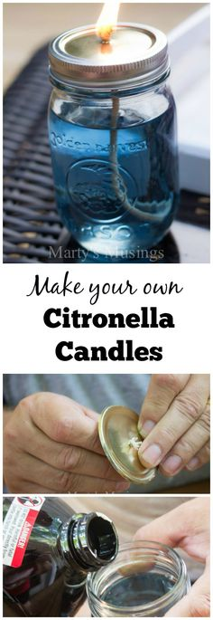 I live in the hot south and spending time on our deck usually happens in the late evening when it's cooler. It's a relaxing time spent with family.....except for the mosquitoes! Here's how I created an easy and inexpensive citronella candle that helps repel those pesky bugs and looks beautiful, too!