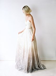 Ombre dip-died wedding dress by Truvelle Bridal