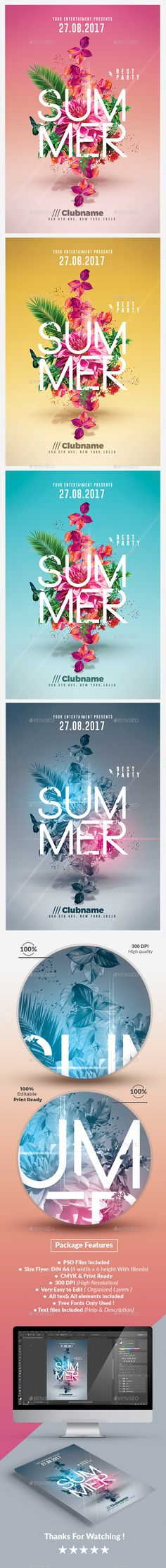 Summer Party Flyer Template PSD. Download here: https://graphicriver.net/item/summer-party-psd-flyer-templates/17517172?ref=ksioks