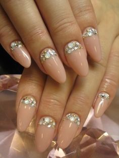 nude + bling nails. perfect almond shape!  Want with dark pink for Vday!