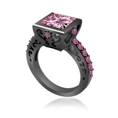 Classic Bridal 14K Black Gold 2.5 Carat Princess Pink Sapphire Ring Size 8  OMG this is beautiful!! If only it wasn't $2,000+