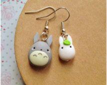 Orecchini Totoro ~ Cute tonarinototoroMiyazaki Ghibli Earrings Fimo Polymer Clay Kawaii My Neighbor Totoro