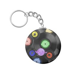 Retro Records Customizable Button Keychain by MoonDreams Music #keychain #button #records #retro #vinyl #moondreamsmusic #music