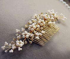 Wedding hair accessories Bridal Pearls Haircomb by SheetaDesign