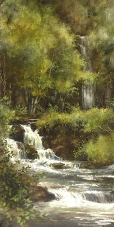 Lance Johnson Paintings- Waterfall in forest Watercolor Trees, Watercolor Landscape, Landscape Art, Landscape Paintings, Watercolor Paintings, Watercolors, Beautiful Paintings, Beautiful Landscapes, Waterfall Paintings