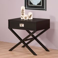 "Napa Black Bedside Table.  I like this as a bedside table or ""just need a side table"" anywhere..."