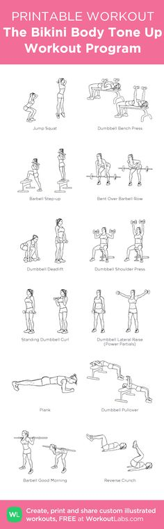 The Bikini Body Tone Up Workout Program: my custom printable workout by @WorkoutLabs #workoutlabs #customworkout