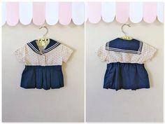 vintage 40s / 50s baby sailor dress - LITTLE SAILOR girl nautical dress / 12M on Etsy, $20.00