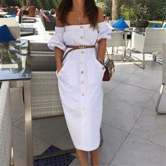 Sexy Strapless Puff Sleeve Elastic Button Long Dress