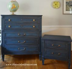 General Finishes milk paint in Coastal Blue. It still is a true blue and after sanding back and distressing, it shows off the dark and light tones to the paint.