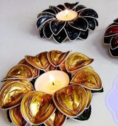 Flower shaped tea candle holders from coffee capsules // Virág alakú mécsestartók kávés kapszulákból  // Mindy - craft tutorial collection //