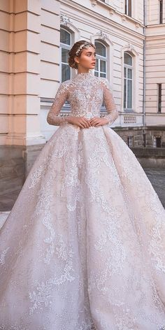 lace ball gown wedding dresses with long sleeves neck milla nova Fancy Wedding Dresses, Bridal Dresses, Wedding Gowns, Lace Ball Gowns, Ball Gown Dresses, Muslimah Wedding Dress, Marie, Photos, Fashion