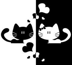 Black+White Cat Love Heart Home Decor Sticker Removable Art Kitchen Wall Sticker Bedroom Wall Paper Cute Kittens, Bird Silhouette, Cat Crafts, Cute Birds, Cat Drawing, Crazy Cats, Crazy Bird, Cat Love, Cat Art