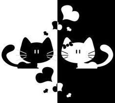 Black+White Cat Love Heart Home Decor Sticker Removable Art Kitchen Wall Sticker Bedroom Wall Paper Cute Kittens, Bird Silhouette, Cat Crafts, Cute Birds, Cat Drawing, Crazy Cats, Crazy Bird, Cat Art, Cat Lovers