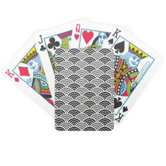 Black And Grey Dragon Scale Kimono Pattern Bicycle Playing Cards