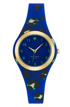 A cute take on a leopard print. This blue and neon green Kate Spade watch is simply gorgeous.