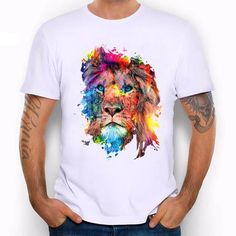 Cheap fashion tees, Buy Quality t shirt men directly from China designer t  shirt Suppliers: New 2016 Summer Fashion Colorful Lion Design T Shirt Men's  High ...