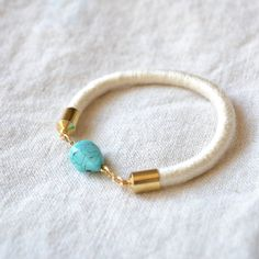 turquoise stone and rope bracelet // INDIAN SUMMER by GOLDhearted, $30.00