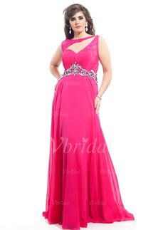 Evening Dresses - $135.46 - A-Line/Princess Scoop Neck Sweep Train Chiffon Evening Dress With Beading (0175057914)