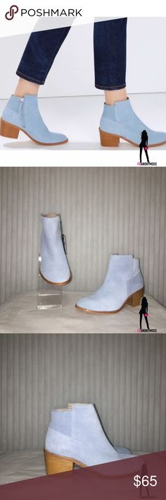 """Zara Blue Suede Booties 7.5 New in box. Adorable genuine baby blue suede ankle booties from Zara. These are Zara size 38 which is a US size 7.5. 2 1/2"""" heel. Do not miss these. Zara Shoes Ankle Boots & Booties"""