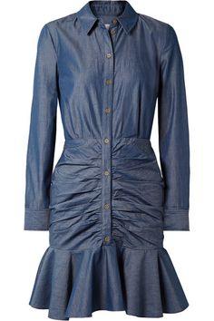 Veronica Beard | Ruched cotton-chambray mini dress | NET-A-PORTER.COM