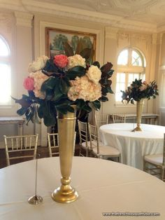 Magnolia Leaf Centerpiece in Tall Gold Vase - The French Bouquet