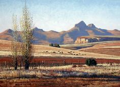 paintings by Roelof Rossouw - near Clarens, South Africa Landscape Drawings, Cool Landscapes, Watercolor Landscape, Landscape Photos, Landscape Art, Landscape Paintings, Africa Painting, African Artwork, Nature Paintings
