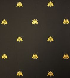 Bee Wallpaper A small gold bee pattern repeat wallpaper on black. £59