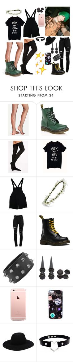 """""""• 19 Meet my Best Friend Alex! •"""" by ghoulxgirl ❤ liked on Polyvore featuring Dr. Martens, American Apparel, Emily Rose Flower Crowns, Yves Saint Laurent, Hot Topic, Nikki Strange and Off-White"""