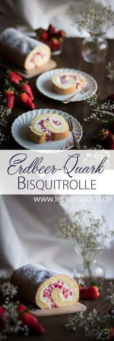 Easy Cake : Biscuit roll with strawberries and quark filling, Growing Zucchini, Antioxidant Vitamins, Diy Food, Biscuits, Cake Decorating, Bakery, Strawberry, Rolls, Easy